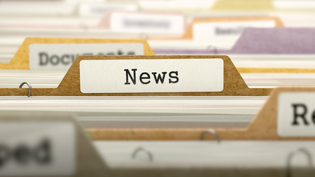 News Concept on Folder Register in Multicolor Card Index. Closeup View. Selective Focus. 3D Render.
