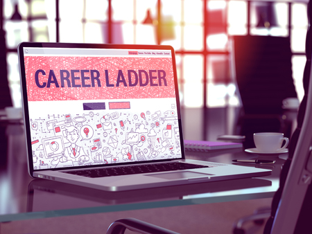 selective focus: Career Ladder Concept Closeup on Landing Page of Laptop Screen in Modern Office Workplace. Toned Image with Selective Focus. 3D Render.