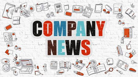 news values: Company News. Multicolor Inscription on White Brick Wall with Doodle Icons Around. Company News Concept. Modern Style Illustration with Doodle Design Icons. Company News on White Brickwall Background. Stock Photo