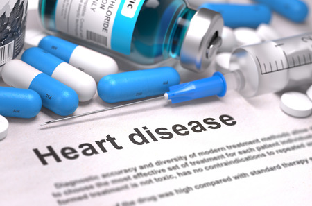 palpitations: Heart Disease. Medical Concept with Blue Pills, Injections and Syringe. Selective Focus. Blurred Background. 3D Render.