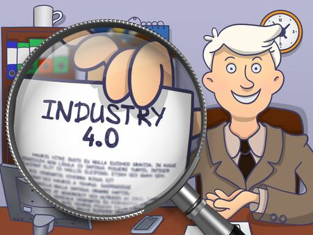 flexible business: Industry 4.0 through Magnifying Glass. Business Man Holding a Text on Paper. Closeup View. Multicolor Modern Line Illustration in Doodle Style.