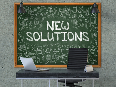 new solutions: New Solutions Concept Handwritten on Green Chalkboard with Doodle Icons. Office Interior with Modern Workplace. Gray Concrete Wall Background. 3D.