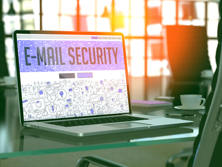 email security: E-Mail Security Concept - Closeup on Landing Page of Laptop Screen in Modern Office Workplace. Toned Image with Selective Focus. 3D Render. Stock Photo