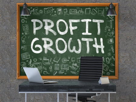 capital gains: Profit Growth - Handwritten Inscription by Chalk on Green Chalkboard with Doodle Icons Around. Business Concept in the Interior of a Modern Office on the Dark Old Concrete Wall Background. 3D.