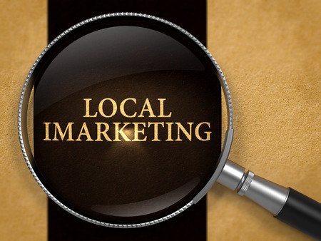 cpl: Local IMarketing Concept through Magnifier on Old Paper with Black Vertical Line Background. 3D Render.