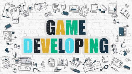 developing: Game Developing - Multicolor Concept with Doodle Icons Around on White Brick Wall Background. Modern Illustration with Elements of Doodle Design Style.