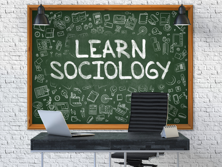 sociologia: Hand Drawn Learn Sociology on Green Chalkboard. Modern Office Interior. White Brick Wall Background. Business Concept with Doodle Style Elements. 3D.