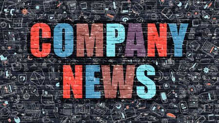 fellowship: Multicolor Concept - Company News on Dark Brick Wall with Doodle Icons. Modern Illustration in Doodle Style. Company News Business Concept. Company News on Dark Wall. Stock Photo