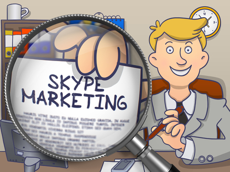 skype: Skype Marketing. Officeman Sitting in Office and Showing a through Lens Paper with Text. Multicolor Modern Line Illustration in Doodle Style.