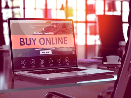Acheter en ligne Concept. Landing Gros plan sur la page écran d'ordinateur portable sur fond de confort Lieu de travail dans Office moderne. Brouillé, Image teintée. 3D Render. Banque d'images