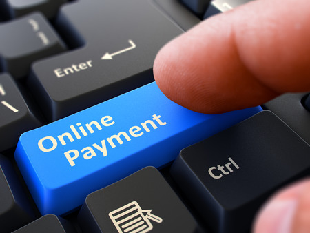 remuneraciones: Person Click on Blue Keyboard Button with Text Online Payment. Selective Focus. Closeup View. 3D Render.