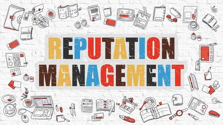 notoriety: Reputation Management Concept. Reputation Management Drawn on White Wall. Reputation Management in Multicolor. Doodle Design. Modern Style Illustration. Line Style Illustration. White Brick Wall. Stock Photo