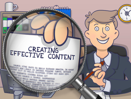 creating: Creating Effective Content through Magnifying Glass. Man Holding a Paper with Inscription. Closeup View. Multicolor Modern Line Illustration in Doodle Style.