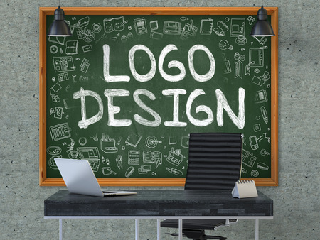 Green Chalkboard with the Text Logo Design Hangs on the Gray Concrete Wall in the Interior of a Modern Office. Illustration with Doodle Style Elements. 3D.