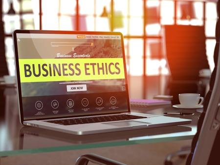etica: Concepto comercial Ética. Primer aterrizaje de página en la pantalla del ordenador portátil en el fondo de un cómodo lugar de trabajo en la oficina moderna. Borrosa, Imagen virada. Render 3D. Foto de archivo