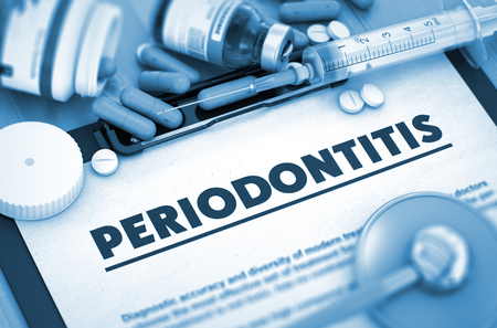 periodontitis: Periodontitis - Printed Diagnosis with Blurred Text. Periodontitis Diagnosis, Medical Concept. Composition of Medicaments. 3D Render.