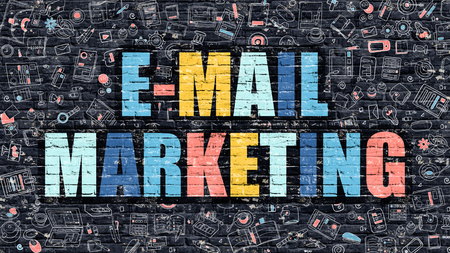 brand activity: E-Mail Marketing Concept. Modern Illustration. Multicolor E-Mail Marketing Drawn on Dark Brick Wall. Doodle Icons. Doodle Style of E-Mail Marketing Concept. E-Mail Marketing on Wall.