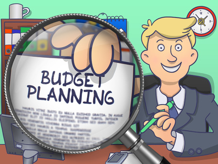marginal: Budget Planning on Paper in Businessmans Hand to Illustrate a Business Concept. Closeup View through Magnifier. Multicolor Doodle Style Illustration.
