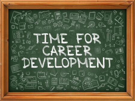 career development: Hand Drawn Time for Career Development on Green Chalkboard. Hand Drawn Doodle Icons Around Chalkboard. Modern Illustration with Line Style. Stock Photo