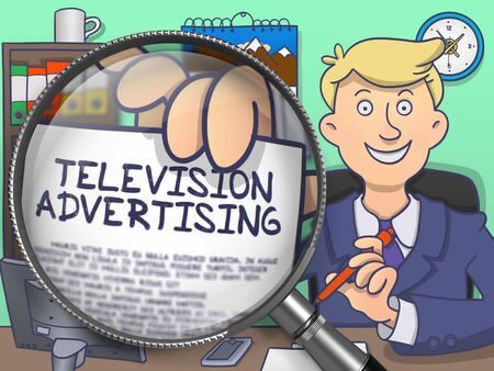 televisor: Business Man Sitting in Office and Shows Paper with Text Television Advertising. Closeup View through Magnifying Glass. Multicolor Modern Line Illustration in Doodle Style. Stock Photo