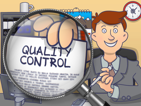 out of control: Quality Control through Lens. Man Holds Out a Paper with Concept. Closeup View. Multicolor Doodle Illustration. Stock Photo