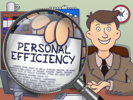 coherence: Personal Efficiency. Businessman Holding a Paper with Inscription through Magnifier. Multicolor Doodle Illustration.