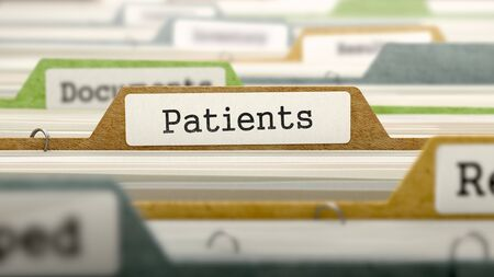 pacientes: Patients - Folder Register Name in Directory. Colored, Blurred Image. Closeup View. 3D Render.
