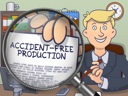 trouble free: Accident-Free Production. Man Shows Text on Paper through Lens. Colored Doodle Illustration. Stock Photo