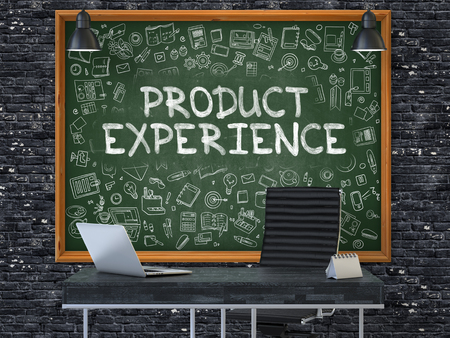 experience: Green Chalkboard with the Text Product Experience Hangs on the Dark Brick Wall in the Interior of a Modern Office. Illustration with Doodle Style Elements. 3D.