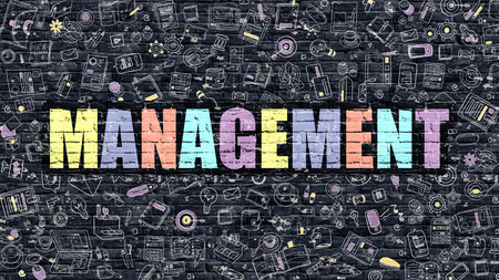 stratagem: Management Concept. Management Drawn on Dark Wall. Management in Multicolor Doodle Design. Management Concept. Modern Illustration in Doodle Design Style of Management. Management Business Concept.
