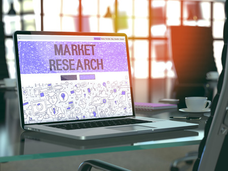 place of research: Market Research Concept. Closeup Landing Page on Laptop Screen in Doodle Design Style. On Background of Comfortable Working Place in Modern Office. Blurred, Toned Image. 3D Render.