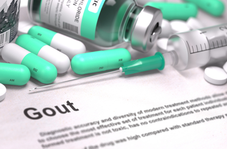 gout: Diagnosis - Gout. Medical Concept with Light Green Pills, Injections and Syringe. Selective Focus. Blurred Background. 3D Render. Stock Photo