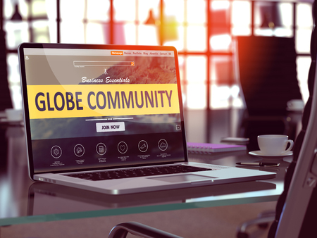 Globe Community Concept Closeup on Laptop Screen in Modern Office Workplace. Toned Image with Selective Focus. 3D Render. Stock Photo