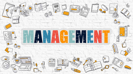 stratagem: Management. Multicolor Inscription on White Brick Wall with Doodle Icons Around. Management Concept. Modern Style Illustration with Doodle Design Icons. Management on White Brickwall Background.