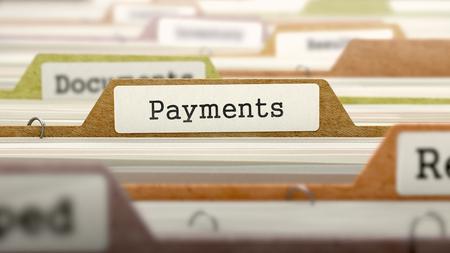 remuneration: Payments Concept on Folder Register in Multicolor Card Index. Closeup View. Selective Focus. 3D Render.