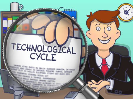 purchasing: Technological Cycle. Smiling Officeman in Office Workplace Holds Out a Paper with Text through Lens. Multicolor Doodle Illustration.