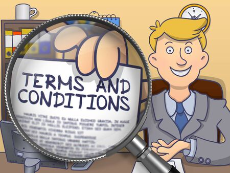 holds: Terms and Conditions. Man Holds Out a Paper with Inscription through Lens. Colored Doodle Style Illustration.