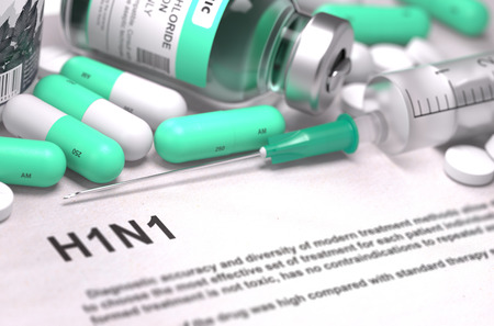 h1n1: Diagnosis - H1N1. Medical Report with Composition of Medicaments - Light Green Pills, Injections and Syringe. Blurred Background with Selective Focus. 3D Render.