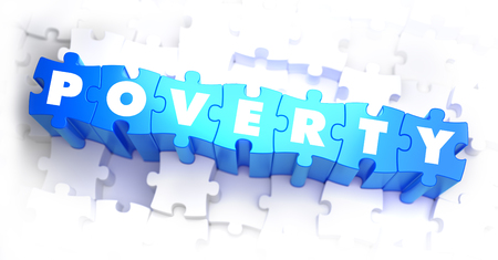 pauperism: Poverty - Text on Blue Puzzles on White Background. 3D Render.