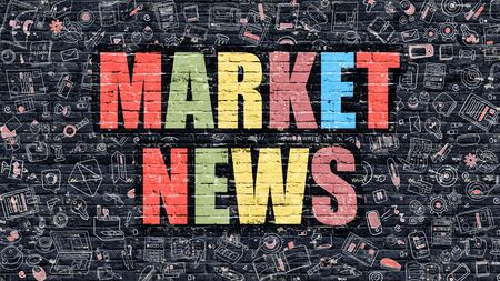 brickwall: Market News. Multicolor Inscription on Dark Brick Wall with Doodle Icons. Market News Concept in Modern Style. Doodle Design Icons. Market News on Dark Brickwall Background. Stock Photo
