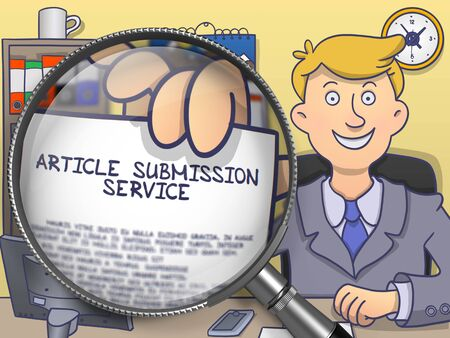article writing: Article Submission Service on Paper in Officemans Hand through Lens to Illustrate a Business Concept. Colored Doodle Illustration. Stock Photo