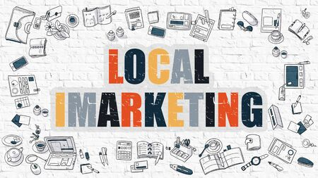 cpa: Local Imarketing. Local Imarketing Drawn on White Wall. Local Imarketing in Multicolor. Modern Style Illustration. Doodle Design Style of Local Imarketing. Line Style Illustration. White Brick Wall.