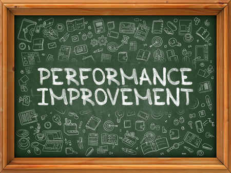 enlargement: Performance Improvement - Hand Drawn on Green Chalkboard with Doodle Icons Around. Modern Illustration with Doodle Design Style. Stock Photo