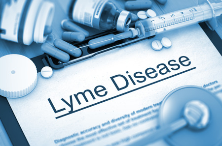 lyme: Lyme Disease, Medical Concept with Pills, Injections and Syringe. Lyme Disease - Printed Diagnosis with Blurred Text. Lyme Disease Diagnosis, Medical Concept. Composition of Medicaments. 3D Render. Stock Photo