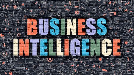 business services: Business Intelligence. Multicolor Inscription on Dark Brick Wall with Doodle Icons. Business Intelligence Concept in Modern Style. Business Intelligence Business Concept. Stock Photo