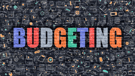 budgeting: Multicolor Concept - Budgeting on Dark Brick Wall with Doodle Icons Around. Modern Illustration in Doodle Design Style. Budgeting Business Concept. Budgeting on Dark Brick Wall. Budgeting Concept.