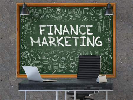 benefit: Finance Marketing - Handwritten Inscription by Chalk on Green Chalkboard with Doodle Icons Around. Business Concept in the Interior of a Modern Office on the Dark Old Concrete Wall Background. 3D.