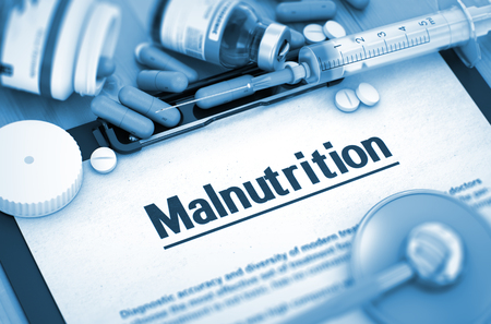 malnutrition: Malnutrition - Medical Report with Composition of Medicaments - Pills, Injections and Syringe. Malnutrition - Printed Diagnosis with Blurred Text. 3D.