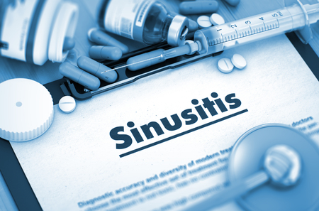 sinusitis: Sinusitis, Medical Concept with Selective Focus. Sinusitis - Medical Report with Composition of Medicaments - Pills, Injections and Syringe. 3D. Stock Photo