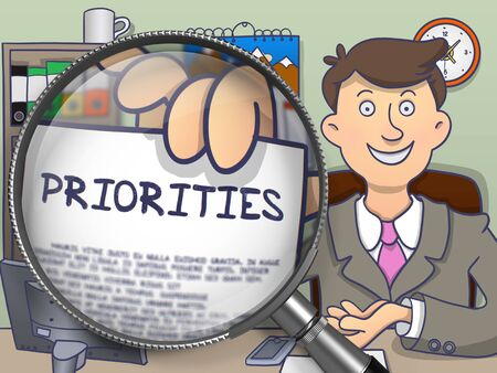 crucial: Priorities on Paper in Businessmans Hand to Illustrate a Business Concept. Closeup View View through Magnifier. Multicolor Doodle Style Illustration. Stock Photo